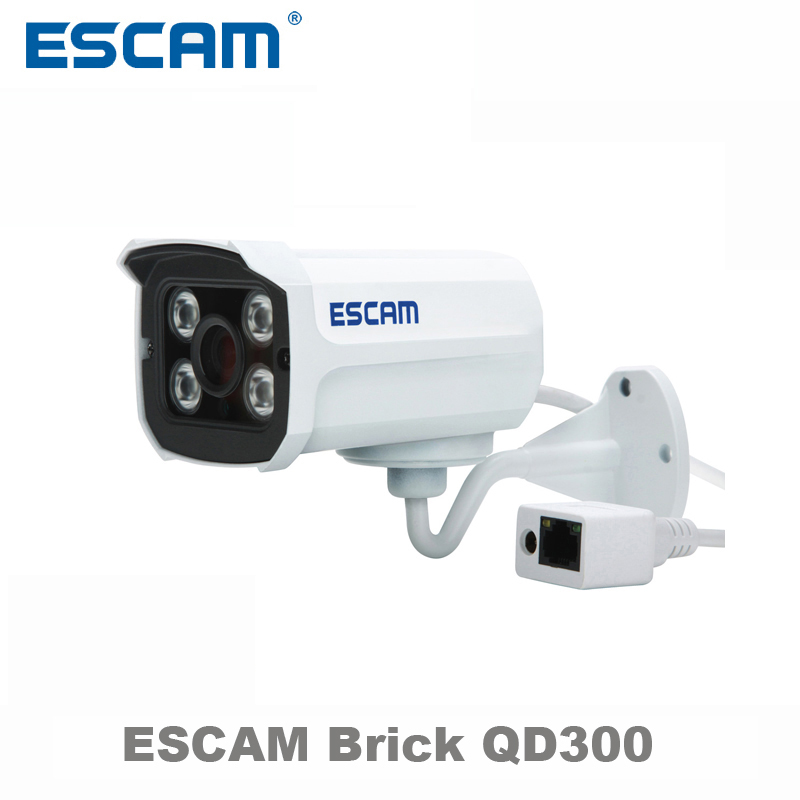 Escam QD300 Mini Bullet IP Camera 1.0 MP HD 720P Onvif P2P IR Outdoor Surveillance Night Vision Infrared Security CCTV Camera smar outdoor bullet ip camera sony imx323 sensor surveillance camera 30 ir led infrared night vision cctv camera waterproof