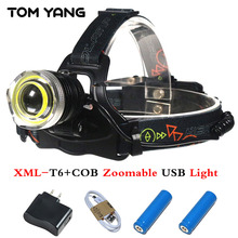 USB Aluminum Alloy T6+COB light headlight 10000 Lumens Zoomable LED Headlamp 4 Mode Camp Head Torch SOS Whistle Use 2*18650/3*AA