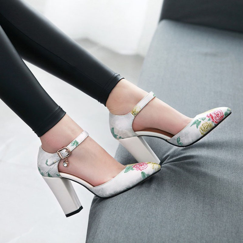 2018 Women Pumps High Heels Woman Shoes Brand Spring Pointed Toe Ankle Strap Pumps Flower Thick Heel Wedding Shoes Plus Size 45 4