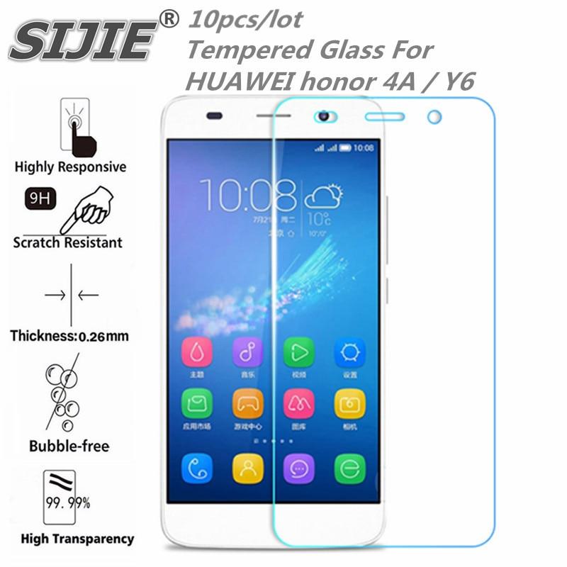 10 pièces verre trempé pour HUAWEI Y6 housse de protection smartphone étui trempé 9 H sur cristaux mince Transparent