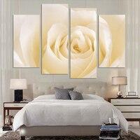 4ピース/セットファッションブランド熱い販売キャンバスピクチャー花絵画ライト黄色バラキャンバスプリント壁の写真をロール