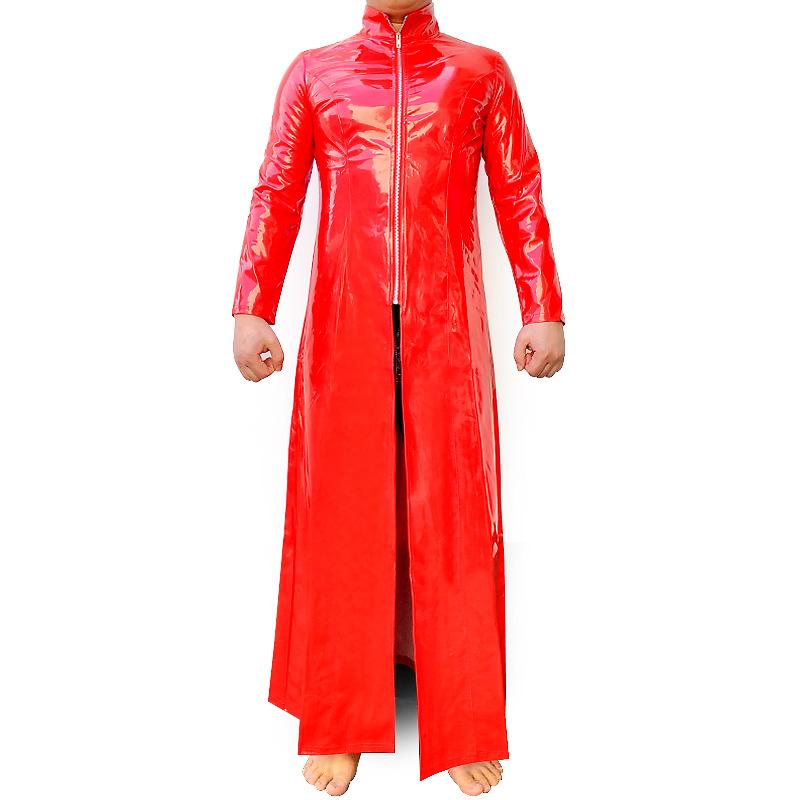 Red Latex Catsuit PVC Patent Leather The Matrix Costume Gay Stretchable Long Coat Trench