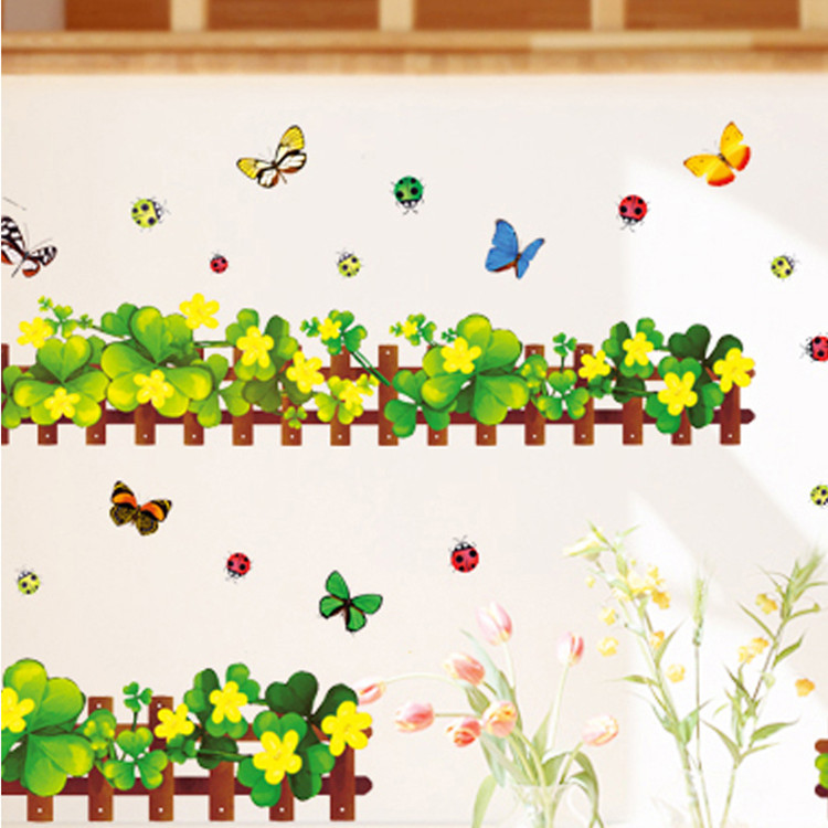 Warm Romantic Four Leaf Clover Skirting Line DIY Removable Wall Stickers Wall Decal Home Decor Wallpaper Small Size AM5004