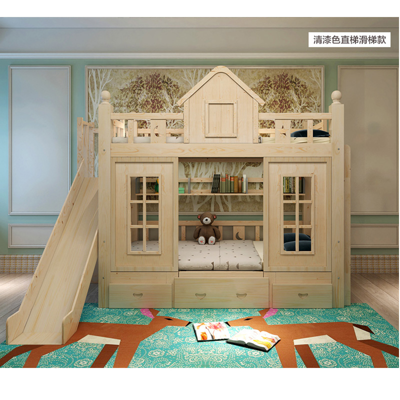 17  0128TB006 Fashionable kids bed room furnishings princess fortress with slide storages cupboard stairs double kids mattress HTB1uX0Ifxk98KJjSZFoq6xS6pXaD
