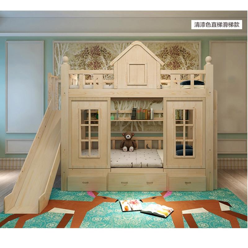 17  0128TB006 Fashionable kids bed room furnishings princess fortress with slide storages cupboard stairs double kids mattress HTB1uX0Ifxk98KJjSZFoq6xS6pXaD