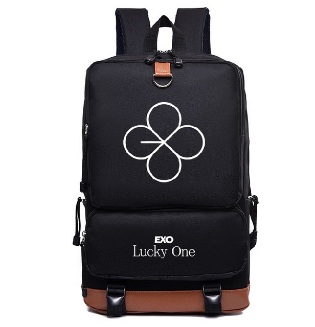 KPOP EXO member logo monster Lucky one canvas Schoolbag Backpack Satchel bag
