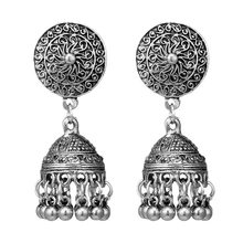Indian Jhumka Gypsy Jewelry Sliver Color Boho Vintage Ethnic Womens Earrings Hollow Water Drop Earrings For Women 2018 CE635(China)