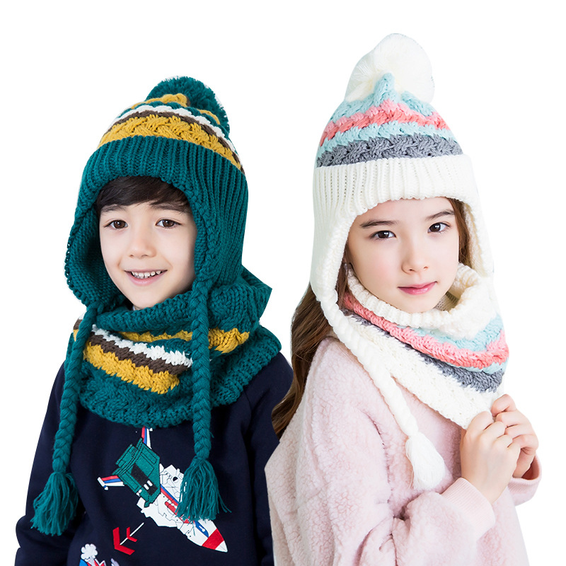 2018 Kocotree Autumn Winter Children's Cap Scarf For Boys Girls Striped Knitted Hat For Kids 4-10 Years Old Students Hat Set