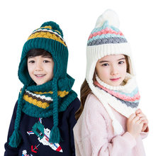 3d002d40 2018 Kocotree Autumn Winter Children's Cap Scarf For Boys Girls Striped  Knitted Hat For Kids 4-10 Years Old Students Hat Set