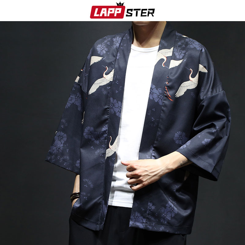 LAPPSTER Men Summer Crane Kimono Shirts 2019 Mens Thin Streetwear Chinese Styel Shirts Male Fashions Designer Cardigan Plus Size