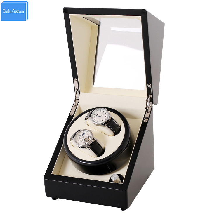 Black Wood White 2 Grids Automatic Watch Winder Box Display&Storage Jewelry Watches Rotate Box Motor uhr beweger  orologi in mov ultra luxury 2 3 5 modes german motor watch winder white color wooden black pu leater inside automatic watch winder