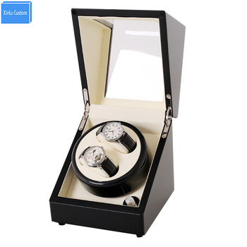 Black Wood White 2 Grids Automatic Watch Winder Box Display&Storage Jewelry Watches Rotate Box Motor uhr beweger  orologi in mov