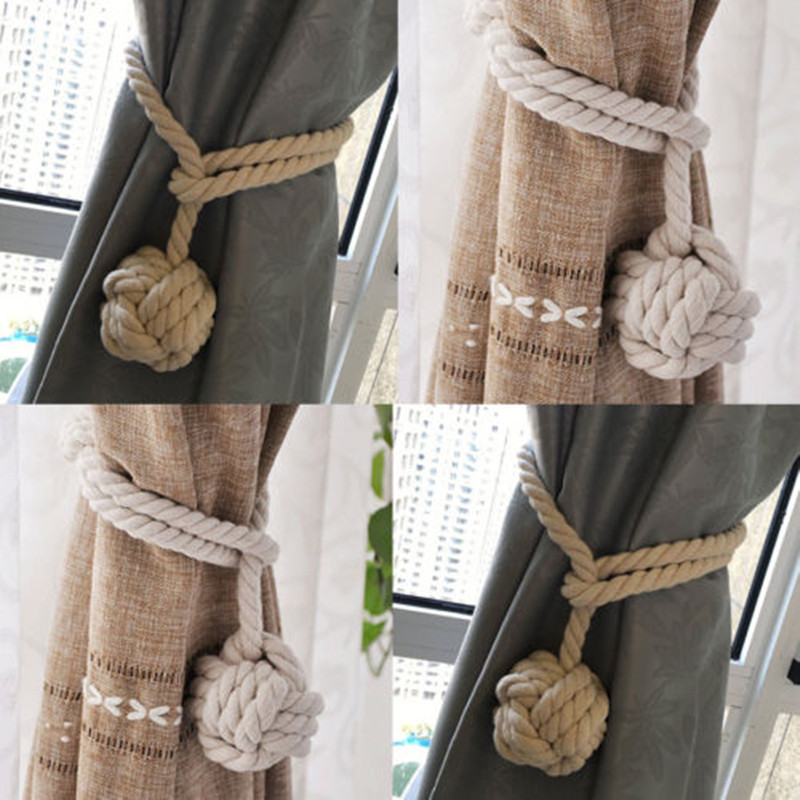 hand knitting curtain rope cord rural cotton tie backs with single ball home fashion DIY decoration