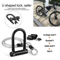 New Black Bicycle U shape Lock Anti hydraulic Shearing Anti theft Lock Upgrade Strong Cycling Accessories MTB Tools High Quality