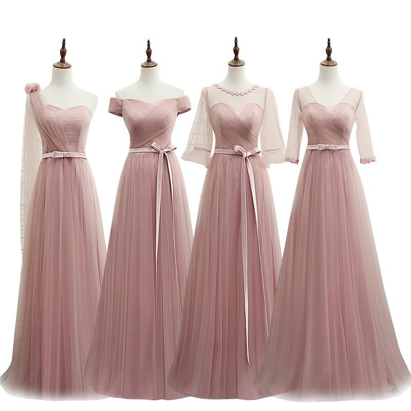 2018 Long Cheap Mint pink   Bridesmaid     Dresses   Under 50 Floor Length Chiffon a-Line Vestido De Madrinha De Casamento Longo