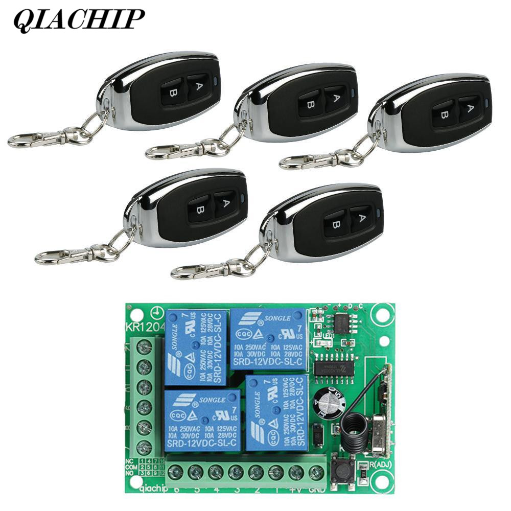 QIACHIP 5pcs RF 433 Mhz Remote Controls 433Mhz Wireless Remote Control Switch AC 250V 110V 220V 2CH Relay Receiver Module DS20