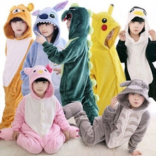 Panda Onesie Pajamas Kigurumi Flannel Animals Pyjama Sleepers For Kids Cartoon Boys Girls Winter Jumpsuits Children Overalls