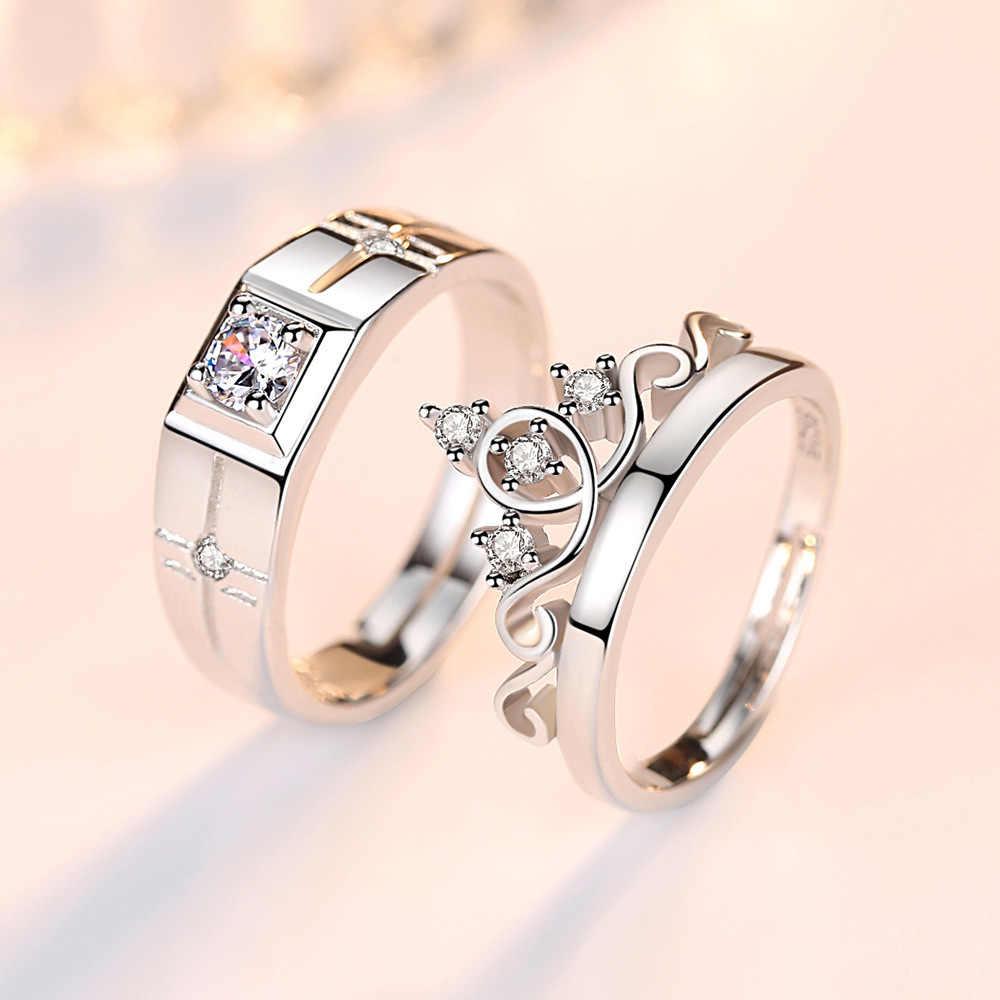 Романтический CZ Циркон Корона 925 серебро влюбленных обручальные кольца ювелирные изделия для Для мужчин Для женщин палец кольцо не исчезают