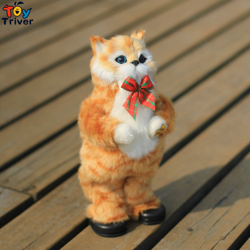 30cm Plush Electronic Singing Dancing Laughing Simulation Cat Toy Doll Music Laugh Body Swing Cats Toys Baby Kids Funny Gift large 24x24 cm simulation white cat with yellow head cat model lifelike big head squatting cat model decoration t187