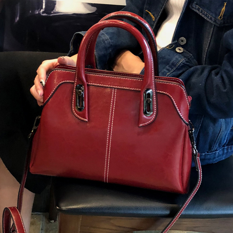 High Quality Natural Skin Top Handle Messenger Women Bags Tote Handbag Casual Oil Wax Genuine Leather