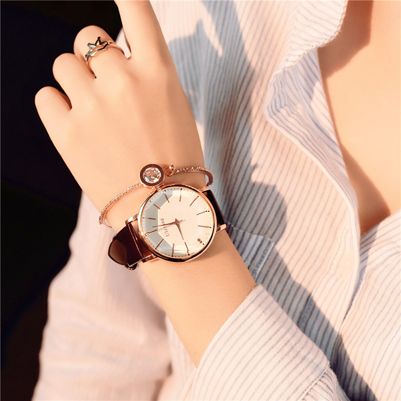 Poliqonal dial dizaynı qadınlar lüks moda paltar kvars saatı - Qadın saatları - Fotoqrafiya 5