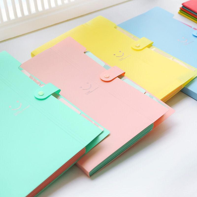 Coloffice Simple Style Candy Color Filing Production Folder Multi-Function 5 Into Mezzanine File A4 Document File Folder 1Piece