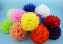 new hot 25cm(10inch) Tissue Paper Pom Poms Wedding Party Decor Craft Paper Flowers Drop Shipping