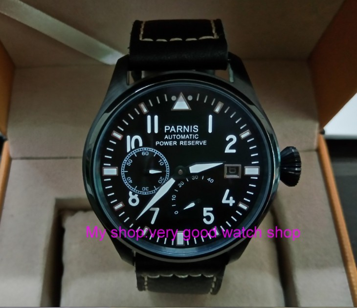 47mm PARNIS power reserve Automatic Self-Wind Mechanical movement men