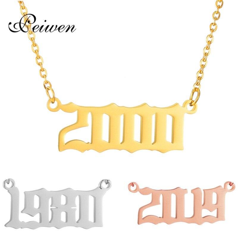 Spersonalizowany numer wisiorek naszyjniki dla kobiet niestandardowy rok 1995 1996 1997 1998 1999 2000 2019 urodziny prezenty od 1980 do 2019