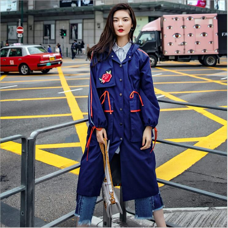 European and American Style Long Trench Coat Rose Embroidery Hit Color Loose Women Hooded Coat Windbreaker