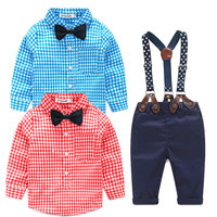 Bibihou Fashion Baby Boy Clothes Spring Long Sleeve Suspenders Cute Bow Tie Grid Gentleman Newborn Suit