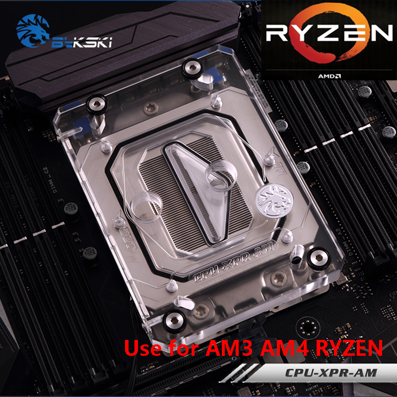 Bykski CPU Water Cooling Block Radiator use for AMD Ryzen AM4 AM3 X399 1950X Transparent Acrylic with AURA RGB RBW CPU-XPR-AM bykski water cooling radiator cpu block use for amd threadripper 940 am2 am3 am4 x399 1950x rgb or aurora light radiator block
