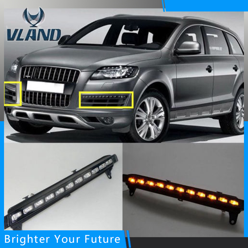 2pcs White+Yellow Daytime Running Lights DRL for AUDI Q7 2006-2009 With Fog lamp driving