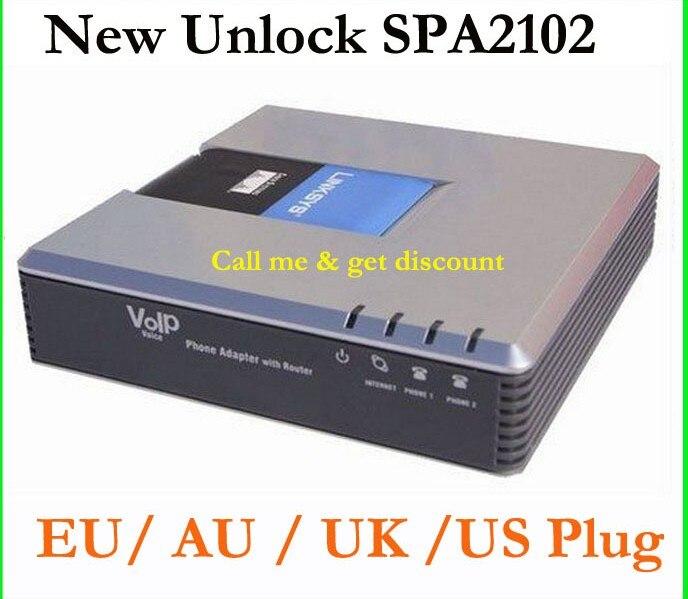 Marque New Unlocked Linksys SPA2102 VoIP Téléphone Apapter avec 1LAN + 2 FXS VoIP Routeur Voix Téléphone Adaptateur