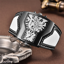 Oulm Уникальный дизайн 2 часовых поясов часы мужские люксовый бренд широкий кожаный ремень спортивные часы мужские кварцевые наручные часы erkek kol saati