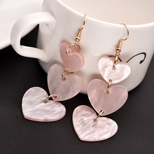 New cute girl pink heart earrings love long tassel Korean acrylic personality joker