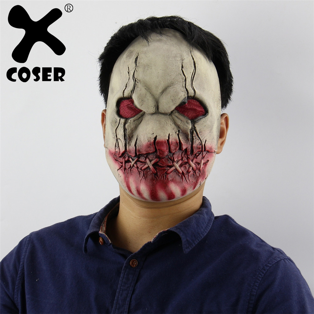 XCOSER Clearance Cheap Sale Halloween Bloody Mouth Zombie Horror Latex Mask Scary Haunted House Room Escape Dress Up Cos Prop