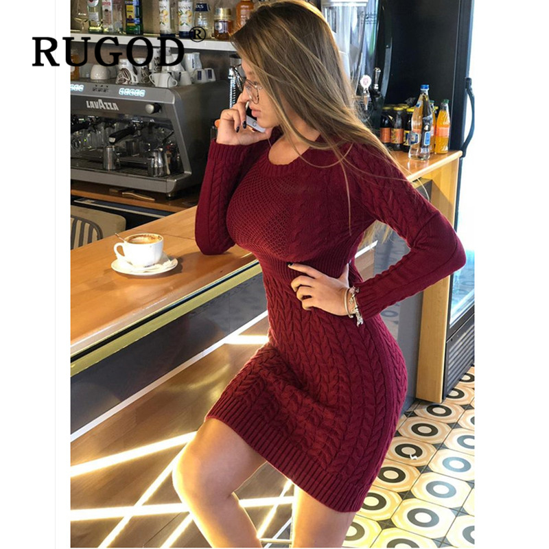 RUGOD 2019 New Slim Sweater Dress Fashion Sexy Tunic Knitted Women Dress Auturm Winter Warm Pencil Dresses Vestidos Female