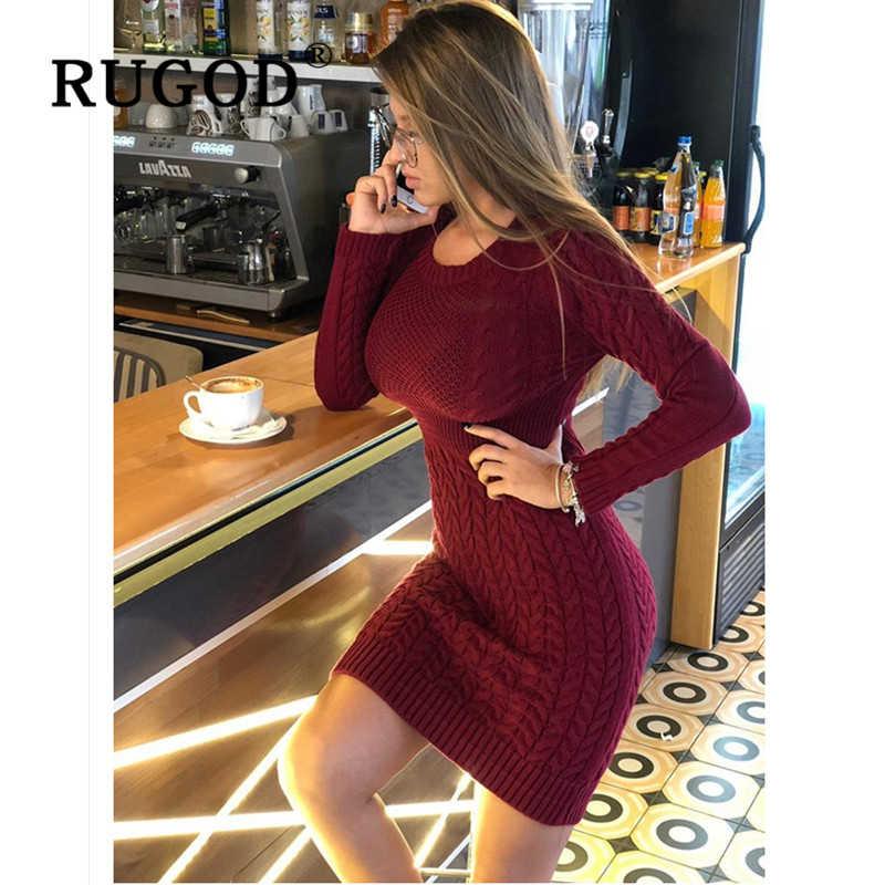 RUGOD 2019 Новое тонкое платье-свитер модная  сексуальная вязаное женское платье Осень-Зима теплые платья-карандаш vestidos женс
