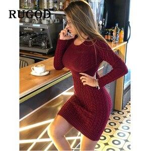 Image 1 - Rugod 2020 novo vestido de camisola magro moda sexy túnica de malha vestido feminino auturm inverno quente lápis vestidos femininos