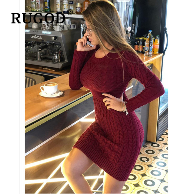 Rugod 2020 novo vestido de camisola magro moda sexy túnica de malha vestido feminino auturm inverno quente lápis vestidos femininos