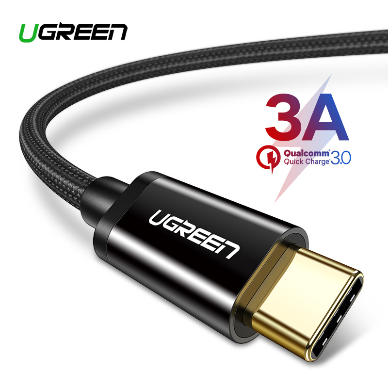 Ugreen USB Type C Cable for Samsung S9 S8 Fast Charge Type-C Mobile Phone Charging Wire USB C Cable for Xiaomi mi9 Redmi note 7(China)