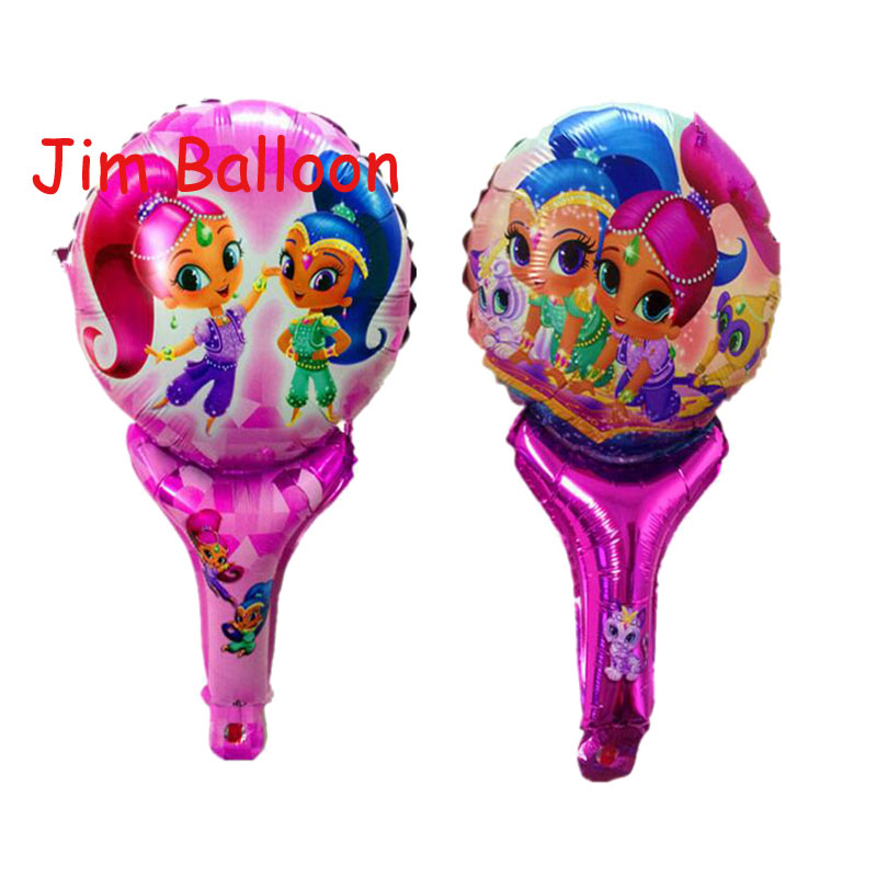 5pcs/lot Shimmer shine Balloon lovely girl princess birthday party decorations hand hold stick balloon inflatable toy gift