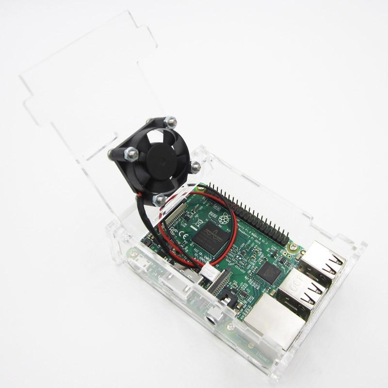 Raspberry pi 3 modèle B kit de bricolage + Raspberry pi 3 boîtier acrylique transparent + ventilateur de refroidissement actif