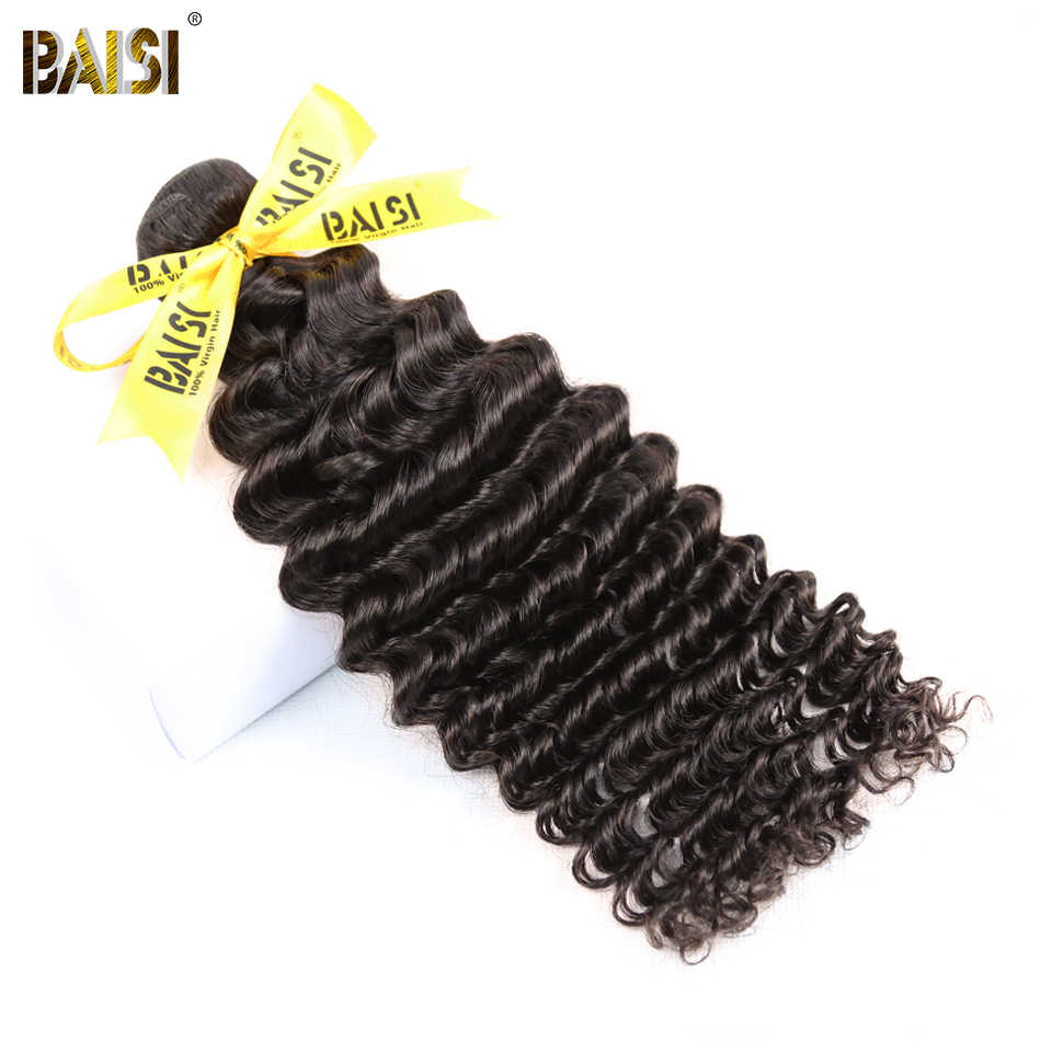BAISI Hair Unprocessed Indian Deep Wave Hair Raw Virgin Hair Weave 3 Bundles 100% Human Hair