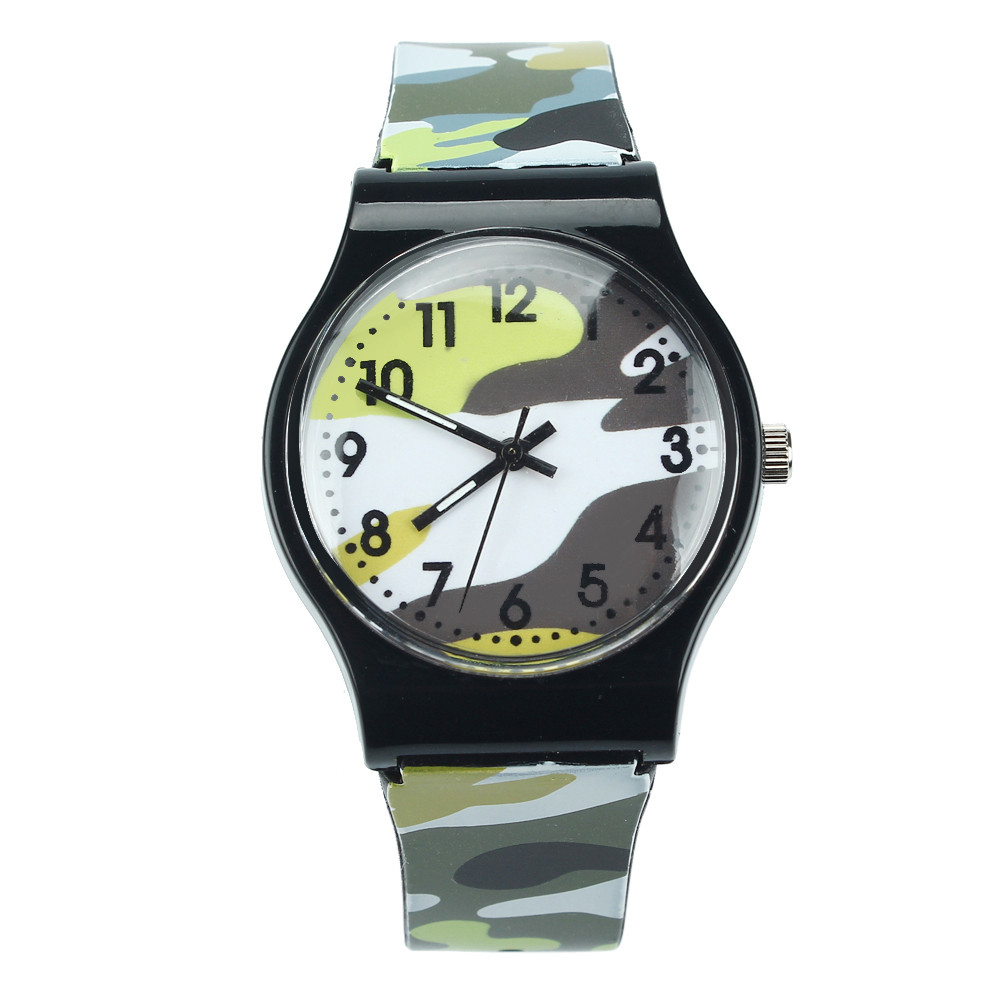 New Fashion Children Watches Camouflage Style Boy Girls LED Analog Quartz Watch Rubber Sport Military Watch Relogio F30
