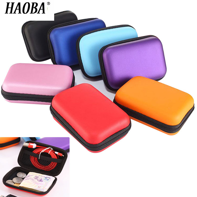 HAOBA Zipper Hard Earphone Case EVA Leather Headphone Storage Bag Protective Usb Cable Organizer Portable Earbuds Pouch Box