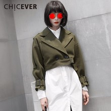 CHICEVER Winter Homemade Short Women jacket Female Coat Long Sleeve Slim Thick Section Lace Up Woolen Women