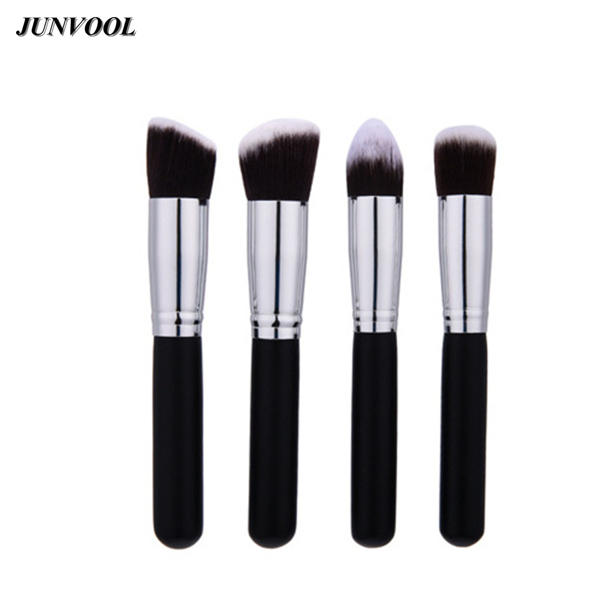 New Travelling Makeup Brush Set 4Pcs Synthetic Blending Powder Blush Eyeshadow Large Foundation Contour Make Up Brushes Silver focallure 10pcs makeup brushes set foundation blending powder eyeshadow contour blush brush beauty cosmetic make up tool kit