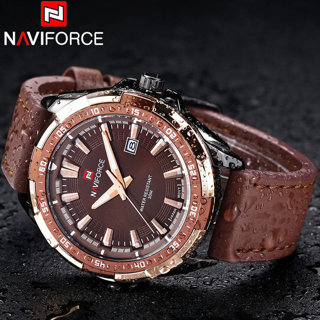 2018 New NAVIFORCE Brand Men Quartz Watches Leather Waterproof Analog Watches Mens Date Casual Clock Rome Time Relogio Masculino 1